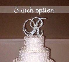"Bling Wedding Cake Topper - Crystal Sparkle Rhinestone Monogram Initial - 5"" Tall | A B C D E F G H I J K L M N O P Q R S T U V W X Y Z"