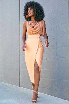 Cowl Neck Blouse + Tan Front Slit Midi Skirt Style Pantry waysify