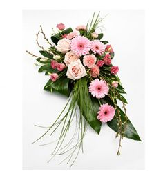 A very pretty pink single ended spray. Roses, Gerbera, Lisianthus and Carnations are lovingly married with variegated Pittosporum, Aralia and Aspidistra leaves, Bear Grass and Cherry Blossom. Casket Flowers, Grave Flowers, Church Flowers, Funeral Flowers, All Flowers, Funeral Floral Arrangements, Large Flower Arrangements, Funeral Caskets, Funeral Sprays