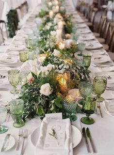 Featured in Style Me Pretty. Anthia Design paired mismatched green goblets with a lush greenery runner on the head table of this Westin Riverfront Beaver Creek, Colorado wedding. Green Fall Weddings, Green Wedding, Brunch Wedding, Wedding Table, Wedding Rustic, Vintage Furniture Wedding, Rustic Wedding Photography, Rustic Backdrop, Wedding Decorations