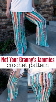 A pattern Crochet Pajama Pants (shorts capris? These crochet comfy pants are soft, cozy, and comfortable, and the pattern is easy Crochet Pants Pattern, Pants Pattern Free, Crochet Shawl Free, Crochet Stitches, Crochet Patterns, Sewing Patterns, Dress Patterns, Pajama Pants Pattern, Free Pattern