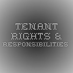Tenant Rights & Responsibilities