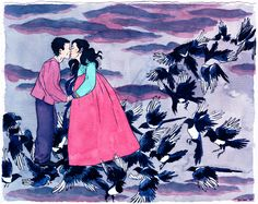 "By Hellen Jo  This is a piece she was commissioned to commemorate a wedding anniversary. One of their wedding photos inspired her to draw the couple as ""Gyeonwu and Jiknyeo, lovers separated by the universe in the Korean folk tale called Chilseok; they were permitted by God to reunite just once each year, on a celestial bridge formed by thousands of magpies and blackbirds."