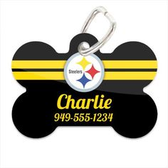 Pittsburgh Steelers Personalized Dog Tag Pet ID w/ Custom Name and Phone Number - CoverHype  - 1