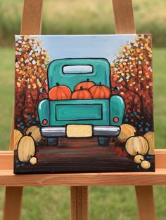 New online painting tutorials Halloween Canvas Paintings, Fall Canvas Painting, Cute Canvas Paintings, Canvas Painting Tutorials, Halloween Painting, Mini Canvas Art, Acrylic Painting For Beginners, Autumn Painting, Easy Paintings