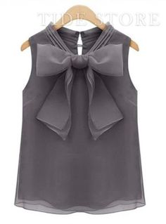 Sweet Summer Fashion Bowknot Sleeveless  Blouse