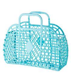 H blue plastic basket bag. School Bags, Old School, H&m Handbags, H&m Bags, Jelly Bag, 80s Kids, Basket Bag, My Childhood Memories, Knitted Bags
