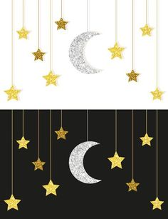 Gold and silver moon and stars Gold und Silber Mond und Sterne Illustrations Eid Crafts, Ramadan Crafts, Ramadan Decorations, Diy And Crafts, Crafts For Kids, Arts And Crafts, Paper Crafts, Islamic Decor, Islamic Art