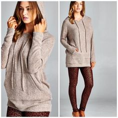 Hoodie Tunic top You will love this top. Super soft hoodie with pocket details . Wear with leggings or denim. Available in Mauve , Light Gray and Mocha please comment for personal listing do not buy this listing. Tops