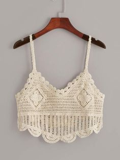 To find out about the Crochet Cami Top at SHEIN, part of our latest Tank Tops & Camis ready to shop online today! Top Tejidos A Crochet, Crochet Cami Tops, Crochet Yoke, Crochet Cardigan, Cute Crochet, Crochet Patterns, Finger Crochet, Crochet Fashion, Crochet Clothes