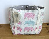 Fabric Tote Bag, Elephant Shoulder Bag, Holiday Beach Bag, Ģift For Women, Knitting Tote, Elephant Lovers, Diaper Bag