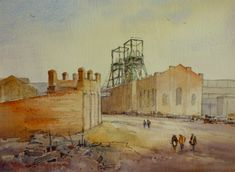 Easington Colliery circa 1968 Graphite pen and watercolour drawn from memory of the first landscape sketch I ever did looking out of the Survey Office window. The only reference I had was old photos at 90 degrees to this view. That's me and my two assistants Geordie Vickers and Norman Walker in the foreground heading underground to do some survey work.