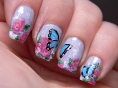 Butterflies and Flowers Mani