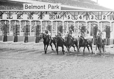 The field horses entered in the Belmont Stakes leaves the starting gate on Saturday, June 9, 1973 in Belmont Park at Elmont, N.Y. From left, are, Sham; Twice a Prince; My Gallant; Pvt. Smiles, and Secretariat, who won the race and racing's a Triple Crown. Secretariat had also won the Preakness and the Kentucky Derby. (AP Photo)