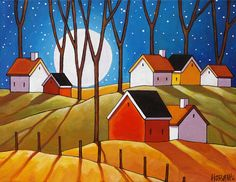 Autumn Night Full Moon Cottages Art Print, Folk Art Night Countryside Trees Landscape Reproduction Artwork by Cathy Horvath Buchanan - Art print, tree sticks & full moon over small country cottages, featuring vibrant colors in a moder - Artwork Prints, Fine Art Prints, Modern Artwork, Original Artwork, Original Paintings, Abstract Paintings, Art Paintings, Frida Art, Cottage Art