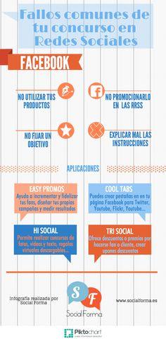 #Infografía: Errores habituales en los concursos de #Facebook #falloscomunes