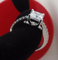 Princess brilliant cut Solitaire with Accents Engagement Ring 14K white Gold