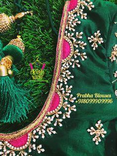 Brocade Blouse Designs, Wedding Saree Blouse Designs, Pattu Saree Blouse Designs, Designer Blouse Patterns, Hand Work Blouse Design, Simple Blouse Designs, Beaded Embroidery, Embroidery Designs, Latest Maggam Work Blouses