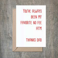 Favorite ATM Dad. Funny Father's Day Card. Funny Father Birthday Card. Funny Dad Birthday.