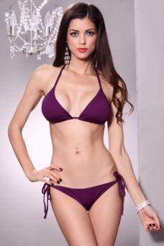 4e23ad6d41 Purple Halter Top Two Piece Pucker Back Bikini Swimsuit   Sexy Clubwear