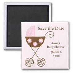 Pink Stroller Baby Shower Save the Date