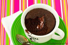 """Healthy Instant Chocolate Cake, Low Carb (gluten-free, sugar-free, and dairy-free) - Microwave or oven 7.4g net carbs - """"This healthy yet decadent spin on the beloved One Minute Muffin is sure to hit the spot when you're crunched for time and craving the sweet stuff."""""""