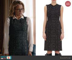 Elizabeth's tweed pencil dress with contrast stitching on Madam Secretary.  Outfit Details: http://wornontv.net/41279/ #MadamSecretary