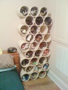 28 Insanely Easy And Clever Diy Projects Stack Pvc Pipe Paint Cans As Shoe Storage Good Idea For