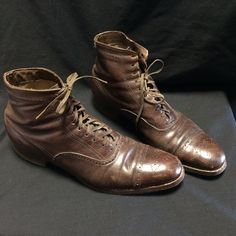 Beautiful Antique Early 1900s Men's Edwardian Punched Leather Boots Shoes 8 8 5 | eBay