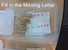 Fill in the missing letter with clothespins.  Adaptable for spelling words.