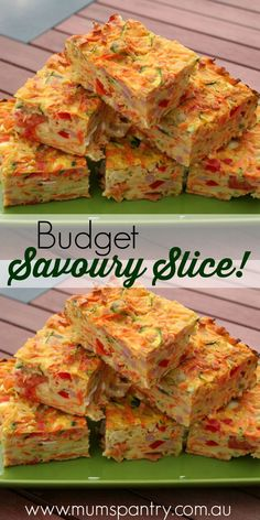 Budget savoury slice … is part of Savoury slice - Savory Muffins, Savory Snacks, Savoury Dishes, Savoury Bakes, Savoury Muffins Vegetarian, Savoury Slice, Savory Tart, Vegetable Slice, Little Lunch
