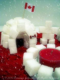 These sugar cube igloos are a fun and interactive Canadian craft for teaching kids about the history of the Inuit people. They also make wonderfully unique Canadian party decorations! Canadian Party, Igloo Craft, Sugar Cubes, Canada Day, School Projects, Art Projects, Teaching Kids, Tea Party, Raspberry