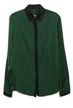 Green Lapel Long Sleeve Single Breasted Loose Chiffon Shirt - Sheinside.com
