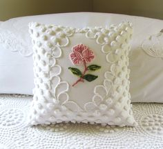 ONE ROSE vintage pink chenille pillow cover