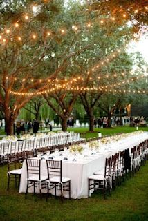 Indoor or outdoor, I like the idea of a few long tables as opposed to lots of little ones. It makes seating easier, I think.