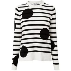 L.K. Bennett Liberty Stripe and Spot Knit Jumper, Black / White (€145) ❤ liked on Polyvore featuring tops, sweaters, print sweater, white jumper, long sleeve knit tops, long sleeve knit sweater and white tops