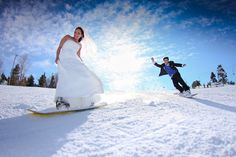 Snowboarding Bride and Groom by Big Bear Mountain Resorts, via Flickr