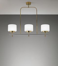 Paavo Tynell; #501 Brass, Opaque Glass and Painted Metal Ceiling Light by Idman Oy for the Joensuu Church Community Centre, 1960s.