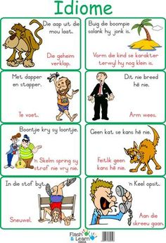 Idioms/Idiome Available in English and Afrikaans Preschool Journals, Preschool Songs, Preschool Learning, Kids Songs, Learning Resources, Animals Name In English, Afrikaans Language, Kindergarten Coloring Pages, 1st Grade Math Worksheets