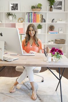 Camille Styles and her Metal Truss Work Table + Bentwood Office Chair from west elm