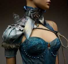 Blue Silver  metallic  Bird cage fantasy armor by pinkabsinthe, $55.00