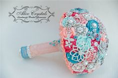 Brooch bouquet. Ivory pink coral and teal by AliceCrystals, $40.00