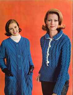 Navy & Blue • 1960s Pullover Sweater Cardigan Coat Patterns • 60s Vintage Ribbed Cabled Pockets Knitting Jumper Pattern • Retro Knit PDF by TheStarShop on Etsy