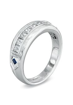 Vera Wang LOVE Collection Men's 3/4 CT. T.W. Princess-Cut Diamond Wedding Band in 14K White Gold  19377613 by Vera Wang LOVE at Zales // More from Vera Wang LOVE at Zales: http://www.theknot.com/gallery/wedding-rings/Vera Wang LOVE at Zales
