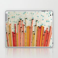 perfectly+peachy+finds+in+retrospect+~+knitting+needles+Laptop+&+iPad+Skin+by+dottie+angel+-+$25.00