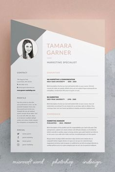 Professional Resume/CV - Resume Template Ideas of Resume Template - Tamara Resume/CV Template Cv Template Word, Resume Design Template, Cover Letter Template, Resume Templates, Free Cv Template, Cover Letter Design, Cover Letters, Cover Letter Resume, Cv Template Student