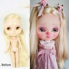 Antes e depois. Before and after 😊 #Etsy #blythebyme #dollcustom #customdoll #customicydoll #icycustomdoll #blythe #dollartist #dollart #art #artdoll #dollcustomizer #dollphotography #beforeandafter #blythestagram #instadoll #instaicy #boneca #bonecaicy #dolls