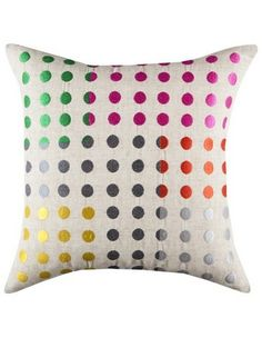 found this via @myer_mystore - KAS Circuit Cushion 45x45cm - (Embroidered on a faux linen base, Kas Circuit cushions' multi coloured spots are intersected by blocks of pop colours to create a clean, geometric design.)