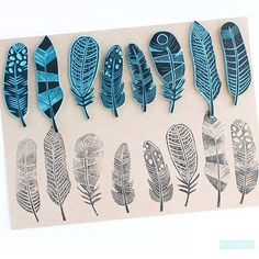 El placer de carvar Gorgeous feather lino cuts can be used for stationary, fabric, gift paper, and wallpaper designs. prints Sellos hechos a mano by Sami Garra Stamp Printing, Printing On Fabric, Screen Printing, Stylo 3d, Art Texture, Clay Texture, Stencils, Eraser Stamp, Stamp Carving