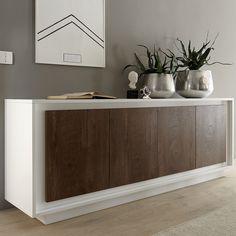 bahut blanc laque mat et couleur bois malt buffet blanc et bois meuble laque blanc